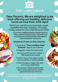 The Lunchbox resuming service from Monday 12th